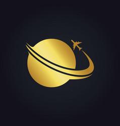 Plane world travel gold logo vector
