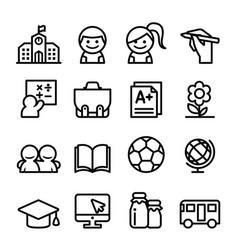 school icon set thin line icon vector image vector image