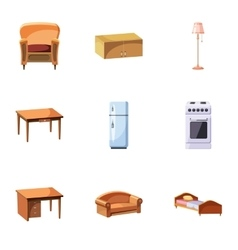 Type of furniture icons set cartoon style vector image vector image