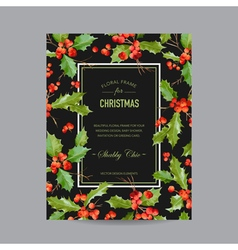 Vintage Holy Berry Christmas Card Winter vector image vector image