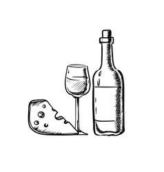 Wine bottle with glass and cheese vector image