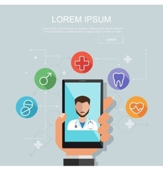 Hand holding smartphone with site of clinic vector image