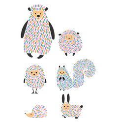 set of cartoon animals and birds stylized vector image vector image