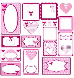 Set of cute pink frames for girls vector image