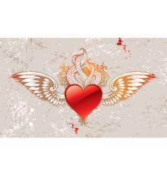 vintage winged heart vector image