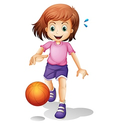 A little girl playing basketball vector image vector image