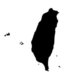black silhouette country borders map of taiwan on vector image