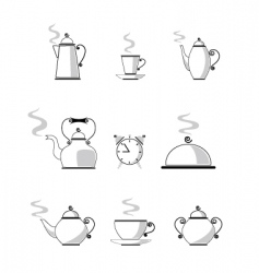 coffee and tea icons vector image vector image