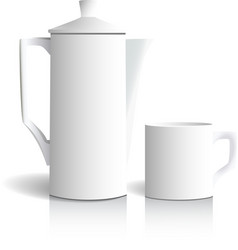 Coffee pot and cup vector image vector image