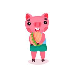cute pig character eating burger funny cartoon vector image