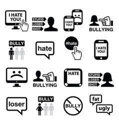 Cyberbullying icons set vector image vector image