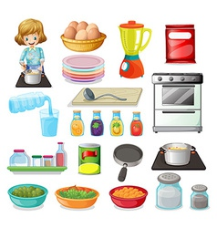 Food and kitchenware vector image