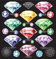 Set of Diamonds of different colors vector image vector image