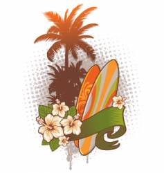 surfboards hibiscus and palm trees vector image