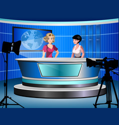 two woman reporting tv news sitting in a studio vector image