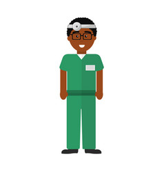 doctor with medical mask and reflector vector image