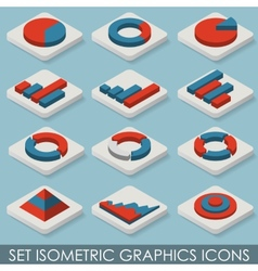 Flat Set Isometric Graphics Icons Infographics vector image vector image