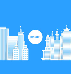 flat style cityscape with white buildings vector image