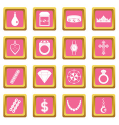 Jewelry items icons pink vector