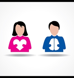 Male Female icon having heart and brain vector image vector image