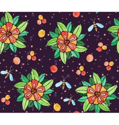 Seamless watercolor pattern with flowers vector image vector image