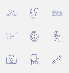 set of 9 editable travel icons includes symbols vector image
