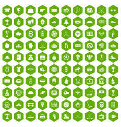 100 hockey icons hexagon green vector