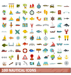 100 nautical icons set flat style vector