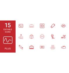 15 plug icons vector image