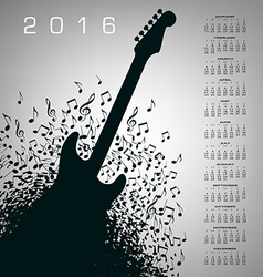 2016 Notes Guitar Calendar vector image
