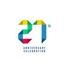 27 th anniversary celebration template design vector