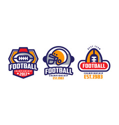 american football championship labels set sport vector image