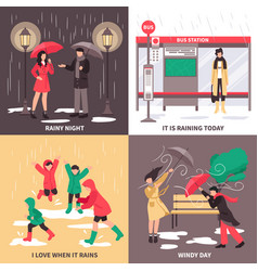 Bad weather concept icons set vector
