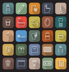 Bathroom line flat icons with long shadow vector