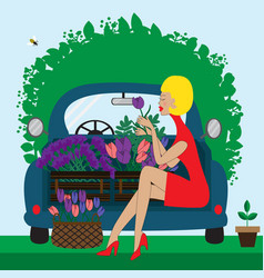 blue car with pretty lady with flowers vector image