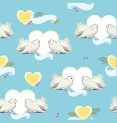 Blue pattern with dove heart and cherry vector