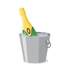 bottle of champagne in ice bucket icon in flat vector image