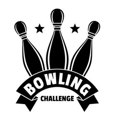 Bowling challenge logo simple style vector