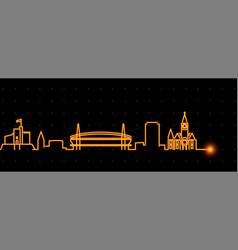 cardiff light streak skyline profile vector image