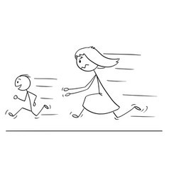 Cartoon of frustrated and angry mother chasing vector