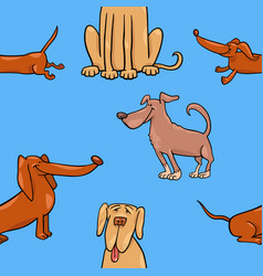 Cartoon wallpaper with dogs vector