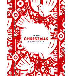 christmas and new year card red nordic birds vector image