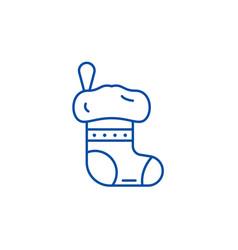 christmas sock line icon concept christmas sock vector image