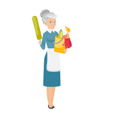 Cleaner holding bucket full of cleaning equipment vector