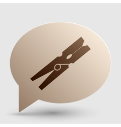 Clothes peg sign Brown gradient icon on bubble vector