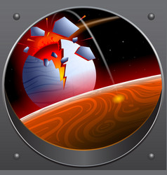 collision of the asteroid with the planet a look vector image