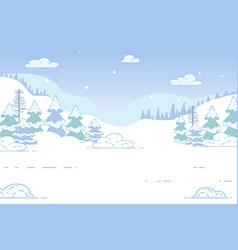 coniferous winter forest nature xmas landscape vector image