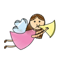 cute angel with trumpet manger character vector image