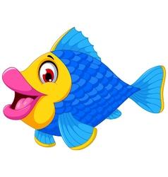 Cute fish cartoon swimming vector