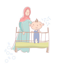 cute happy little baby boy in a crib or cot vector image
